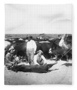 Cowboys Branding Cattle C. 1900 Fleece Blanket
