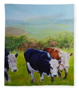 Cows And English Landscape Fleece Blanket