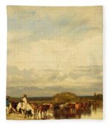 Cows Crossing A Ford 1836 Fleece Blanket