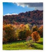 Cows In Pomfret Vermont Fall Foliage Fleece Blanket