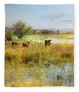 Cows In The Desert Fleece Blanket