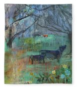 Cows In The Olive Grove Fleece Blanket