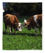 Cows Nuzzling Fleece Blanket