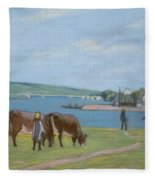 Cows On The Banks Of The Seine At Saint Mammes Fleece Blanket