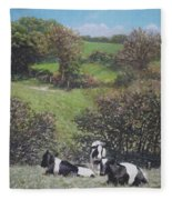 Cows Sitting By Hill Relaxing Fleece Blanket