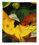 Cows Yellow Red Green 1912 Fleece Blanket