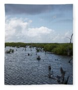 Ominous Clouds Over A Cozumel Mexico Swamp  Fleece Blanket