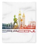 Cracow City Skyline Color Fleece Blanket