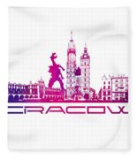 Cracow City Skyline Purple Fleece Blanket