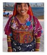 Craft Vendor In Panama City, Panama Fleece Blanket
