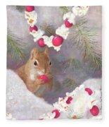 Cranberry Garlands Christmas Squirrel Fleece Blanket