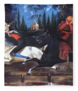 Crane And Horseman Fleece Blanket