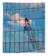 Crane Reflection - Atlantic City Fleece Blanket