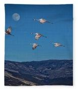 Cranes Across Colorado Blue Fleece Blanket
