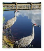 Cranes At The Lake Fleece Blanket