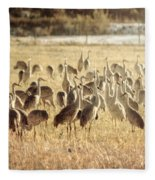 Cranes In The Morning Mist Fleece Blanket