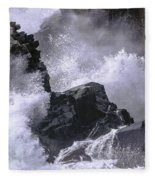 Crashing Wave At Quoddy Fleece Blanket
