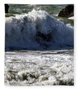 Crashing Waves At Goat Rock Fleece Blanket