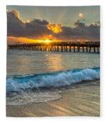 Crashing Waves At Sunrise Fleece Blanket