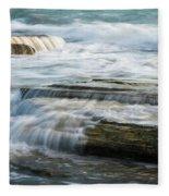 Crashing Waves On Sea Rocks Fleece Blanket