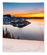 Crater Lake Dawn Fleece Blanket