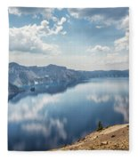 Crater Lake With A View Of The Phantom Ship Fleece Blanket