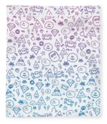 Crazy And Cute Monster Patter In Blue Pink Fleece Blanket