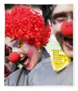 Crazy Circus Clowns Fleece Blanket