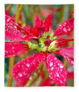 Crazy Dewy Red Flower Fleece Blanket