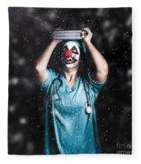 Crazy Doctor Clown Laughing In Rain Fleece Blanket