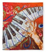Crazy Fingers - Piano Keyboard  Fleece Blanket