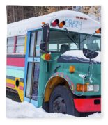 Crazy Painted Old School Bus In The Snow Fleece Blanket