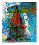 Crazy Red House In The Clouds Whimsy Fleece Blanket