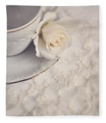 Cream Rose On White China Cup Fleece Blanket