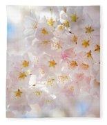 Creamy Blossoms Fleece Blanket