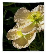 Creamy Poppies Fleece Blanket