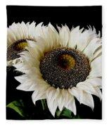 Creamy Sunflowers Fleece Blanket