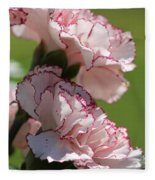 Creamy White With Red Picotee Carnation Fleece Blanket