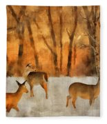 Creatures Of A Winter Sunset Fleece Blanket