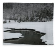Creek In Snowy Landscape Fleece Blanket