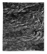 Creek Ripples B And W Fleece Blanket