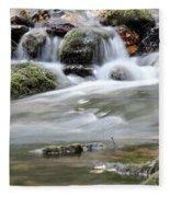 Creek With Rocks Spring Scene Fleece Blanket