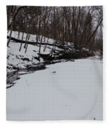 Creeks Battles The Snow And Cold To Remain Flowing. Fleece Blanket