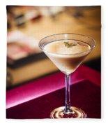 Creme Caramel Martini Cocktail In Bar Fleece Blanket
