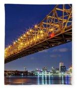 Crescent City Bridge, New Orleans, Version 2 Fleece Blanket
