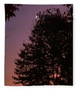 Crescent Moon And Tree Silhouette At Dusk Fleece Blanket