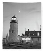 Crescent Moon Over The Pemaquid Point Lighthouse Pemaquid Me Black And White Fleece Blanket