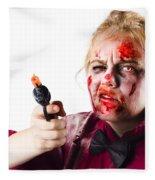 Criminal Zombie Pointing Revolver Fleece Blanket