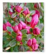 Crimson Azalea Buds Fleece Blanket