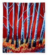 Crimson Birch Trees Fleece Blanket